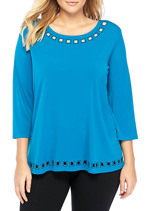 THE LIMITED Plus Size Beaded Boat Neck Top