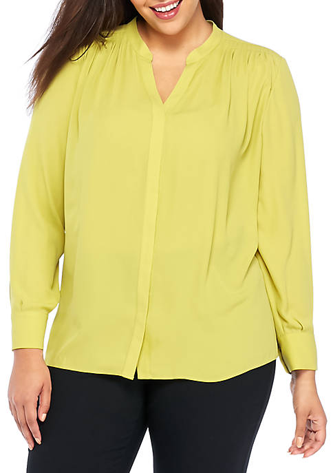 THE LIMITED Plus Size Pleated Yoke Blouse