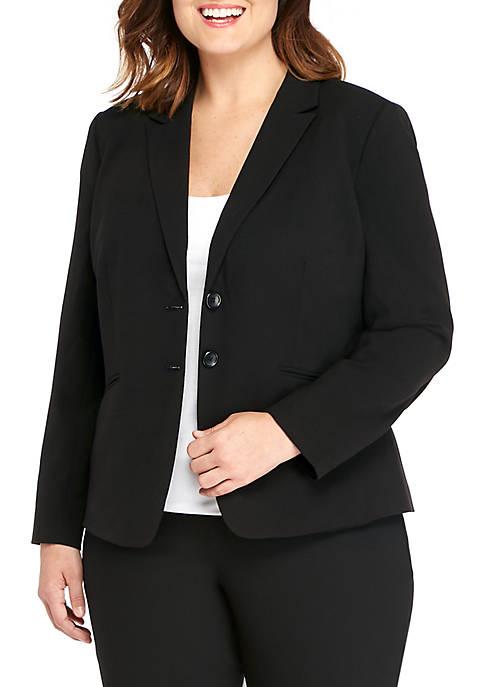 Plus Size Two-Button Blazer in Modern Stretch