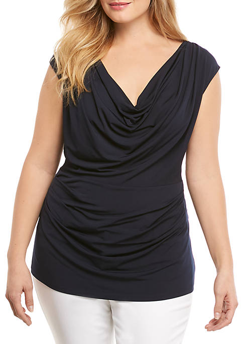 Plus Size Solid Cowl Neck Top