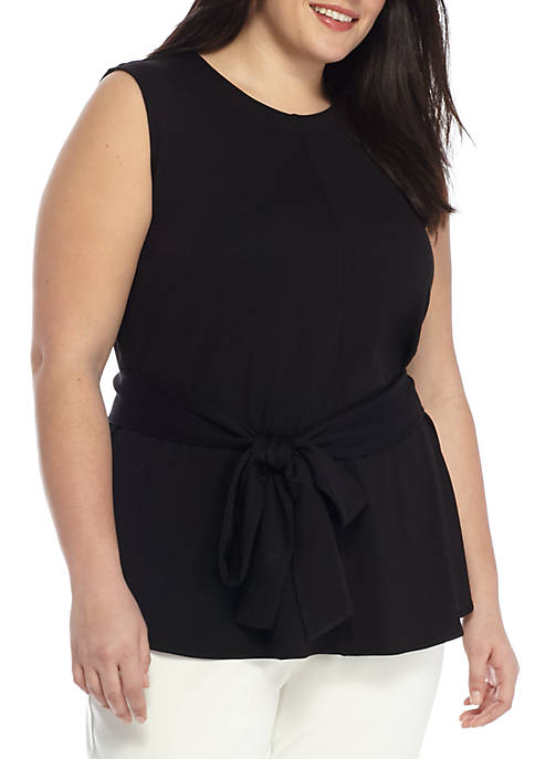 THE LIMITED Plus Size Sleeveless Ponte Tie Front