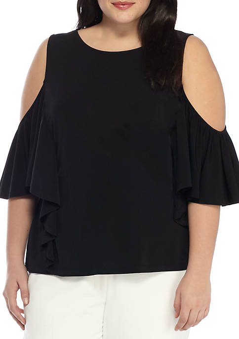THE LIMITED Plus Size Solid Cold Shoulder Flounce