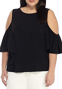Plus Size Solid Cold Shoulder Flounce Blouse