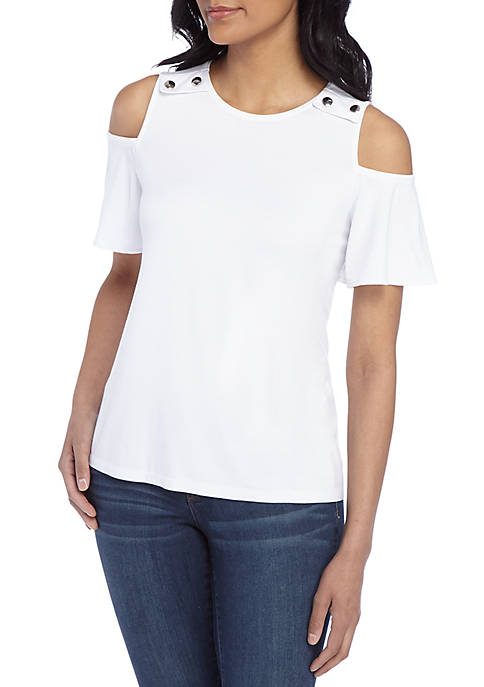 Petite Cold Shoulder Jersey Top