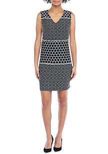 Sleeveless Sheath Jacquard Dress