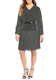 Plus Size Pleat Belted Dress