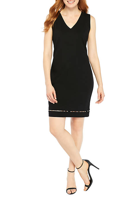 THE LIMITED Petite Sheath Ponte Pearl Trim Dress