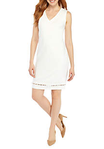 Petite Sheath Ponte Pearl Trim Dress