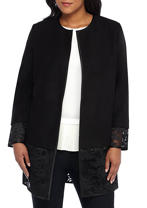 THE LIMITED Plus Size Lace Trim Open Jacket