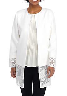 Lace Trim Open Jacket