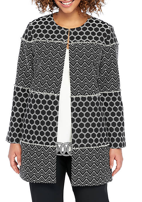 THE LIMITED Plus Size Mixed Jacquard Long Jacket