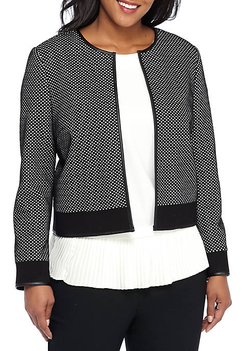 THE LIMITED Plus Size Polka Dot Textured Jacket