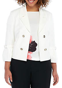 Plus Size Buckle Sleeve Jacket