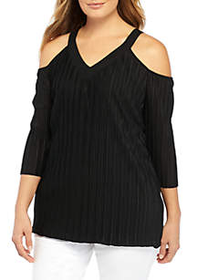 Plus Size Cold Shoulder Pleat Blouse