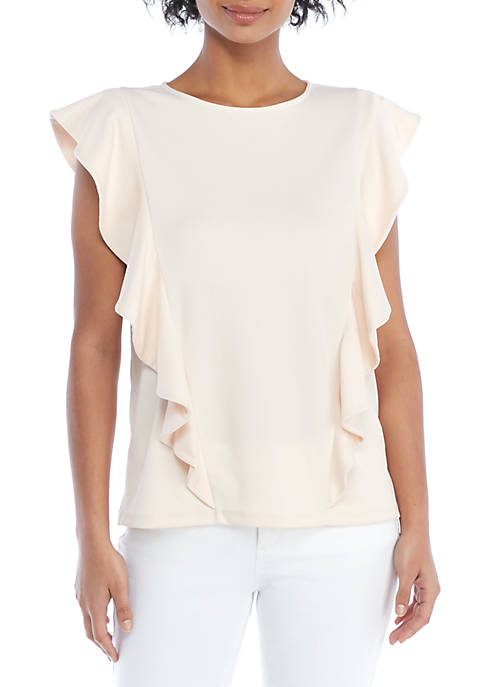 THE LIMITED Petite Ruffle Front Knit Top