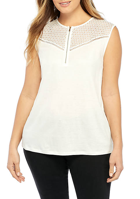 THE LIMITED Plus Size Sleeveless Lace Insert Blouse
