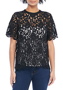 Petite Short Sleeve Lace Top