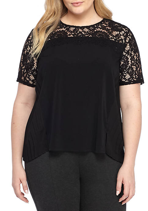 THE LIMITED Plus Size Lace Trimmed Pleated Top