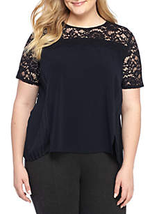 Plus Size Lace Trimmed Pleated Top