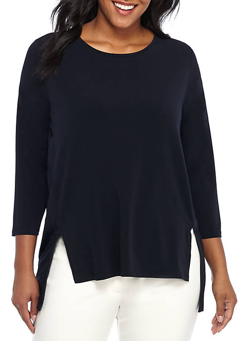 THE LIMITED Plus Size Three-Quarter Sleeve Knit Pleat