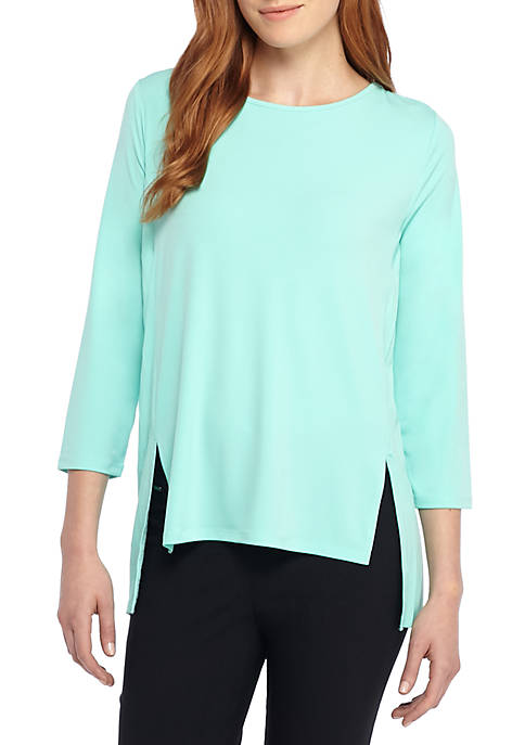 THE LIMITED Three-Quarter Sleeve Knit Pleat Top