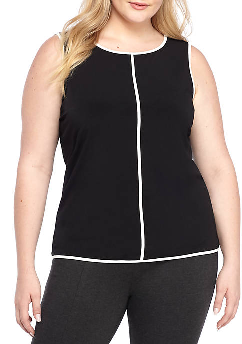 Plus Size Piped Sleeveless Shell Top