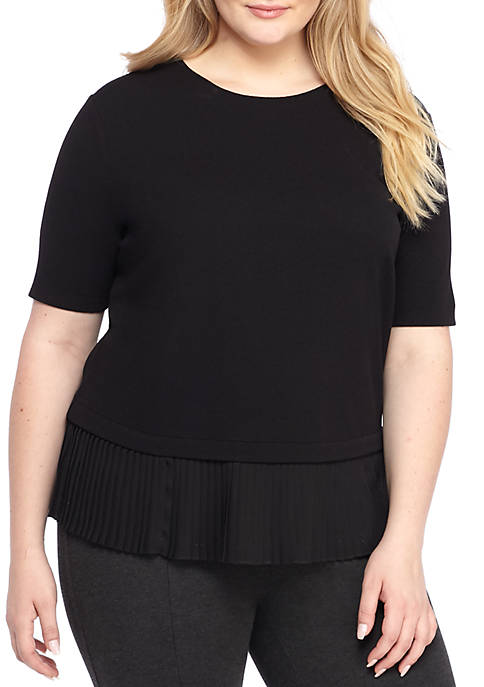 THE LIMITED Plus Size Elbow Sleeve Pleated Hem