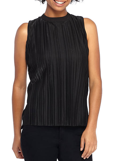 THE LIMITED Sleeveless Shimmer Pleat Top
