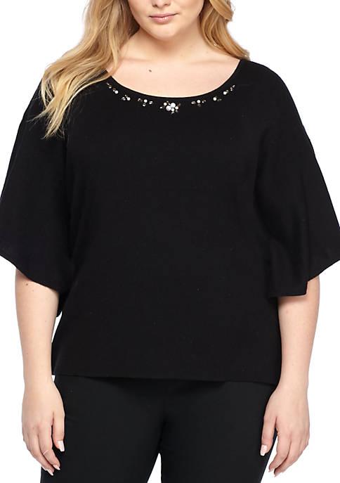 Plus Size Flutter Sleeve Embellished Pullover