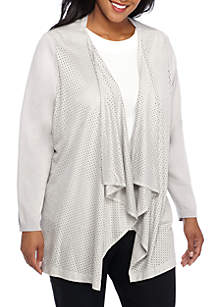 Faux Suede Perforated Ruffle Front Jacket