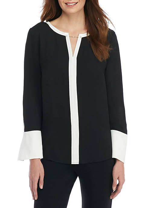 THE LIMITED Petite Contrast Bell Sleeve Blouse