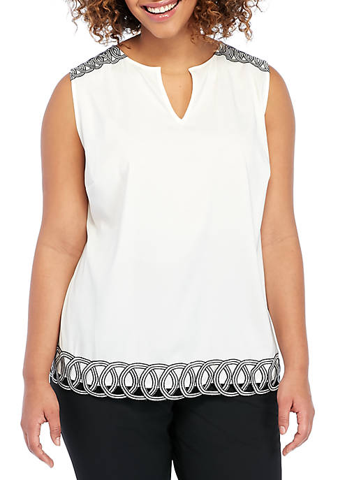 THE LIMITED Plus Size Sleeveless Trim Shell Top