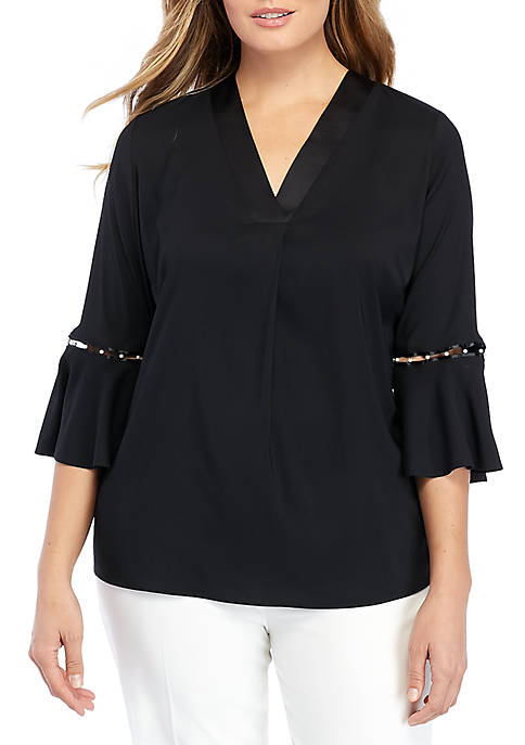 THE LIMITED Plus Size V-Neck Pearl Embellished Bell