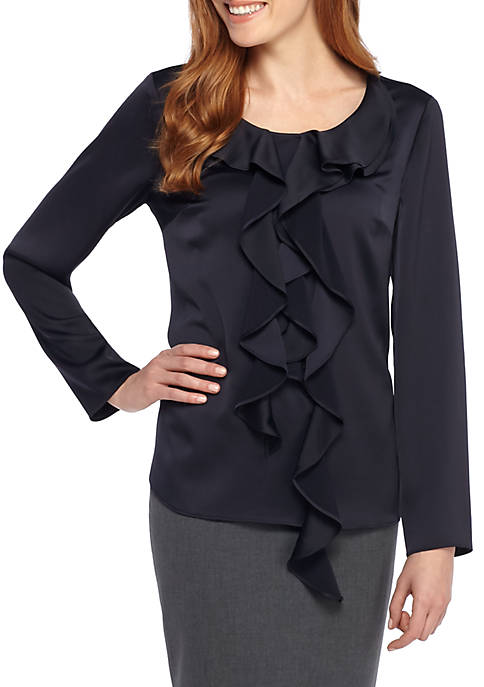 THE LIMITED Asymmetric Ruffle Front Blouse