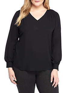 Plus Size Crepe Ruch Back Tunic
