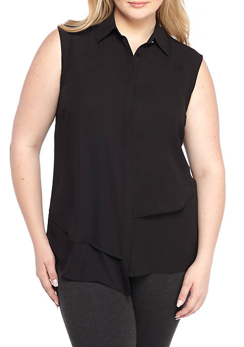 Plus Size Sleeveless Asymmetric Hem Tunic