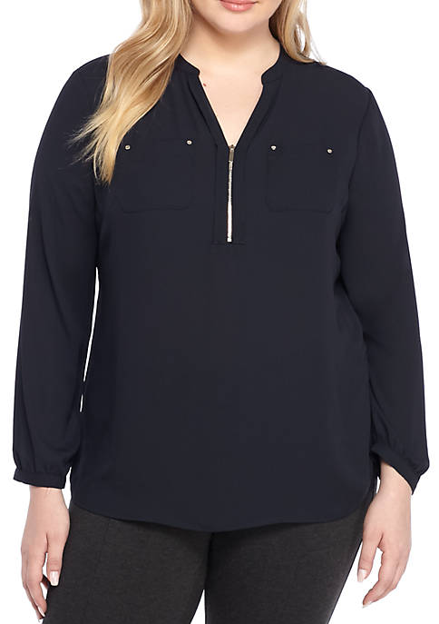 THE LIMITED Plus Size Two Pocket Zip Front