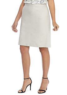 Plus Size Sateen Pencil Skirt