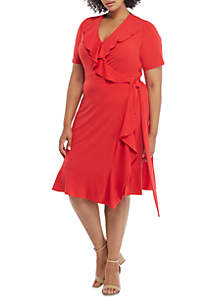THE LIMITED Plus Size Ruffle Surplice Dress with Tie