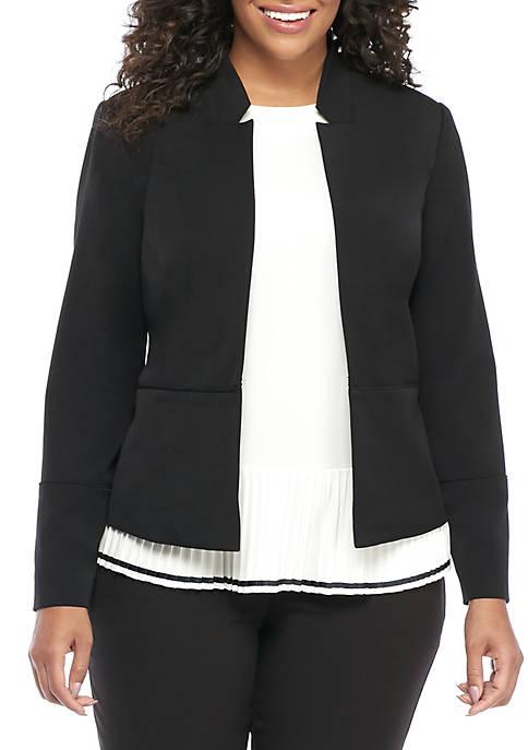 Plus Size Two Way Spandex Twill Jacket