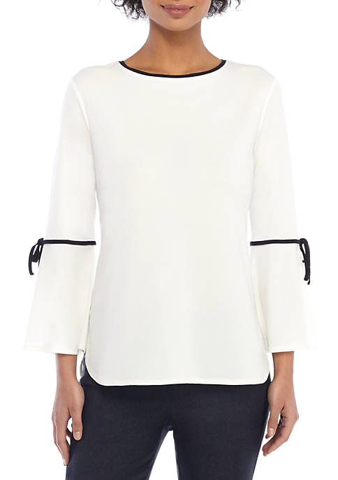 THE LIMITED Contrast Tie Bell Sleeve Blouse