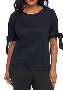 Plus Size Tie Sleeve Grommet Top