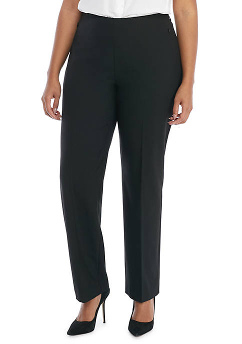 Plus Size Signature Straight Pant with Zip Pockets in Modern Stretch