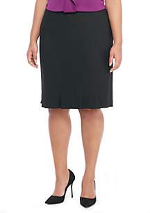 Plus Size Box Pleat Pencil Skirt