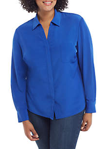 THE LIMITED Plus Size Solid Pocket Blouse