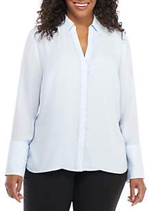 Plus Size Lace Trim Placket Shirt