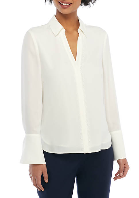 Lace Trim Placket Shirt