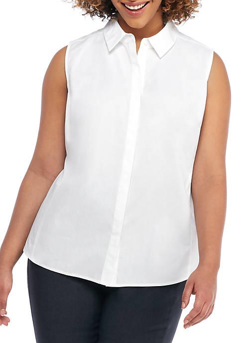 Plus Size Solid Cotton Sleeveless Shirt