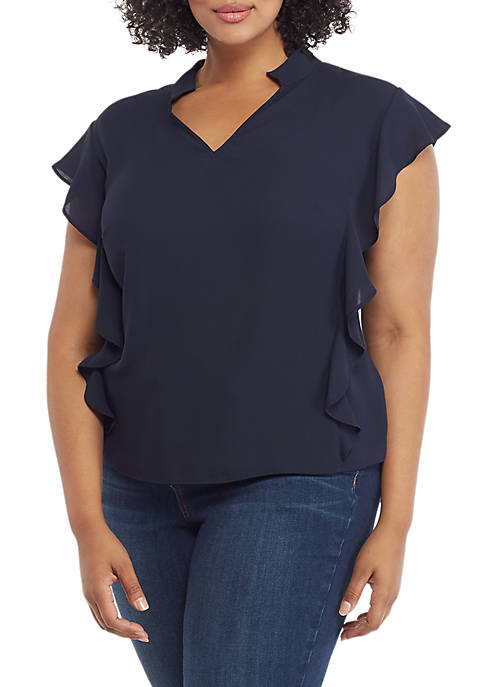 Plus Size Flutter Sleeve Side Front V Neck Blouse