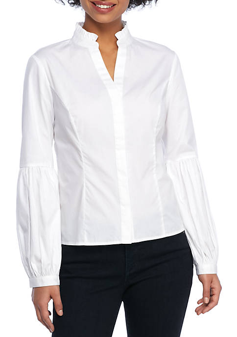 THE LIMITED Petite Ruffle Neck Puff Sleeve Shirt